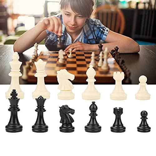 Garosa Piezas de ajedrez estándar de 32 Piezas Accesorios de Repuesto de Juego de Tablero de ajedrez de plástico para Entretenimiento o Torneo Ajedrez Blanco y Negro, sin Tablero