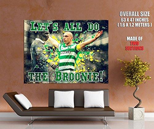 Scott Brown Celtic Celebration El Hadji Diouf Broonie Broony Football Retro Vintage Art 63x47 Huge Giant Poster Print