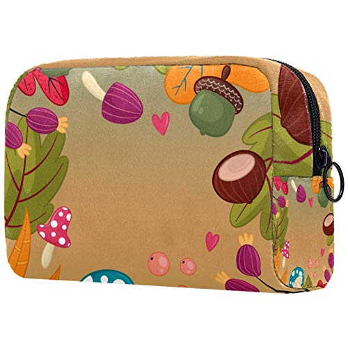 Neceser de Maquillaje Estuche Escolar para Cosméticos Bolsa de Aseo Grande Colorful Autumn Pattern_Mesa De Trabajo 1