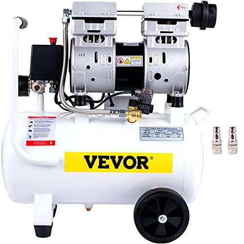 VEVOR Air Compressor, 18L/4 Gallon Air Compressor Tank, 1.1HP 850W Portable Oilless Air Compressor Kit for Garage, Ultra Quiet, 115PSI, 5.9CFM, 1440RPM, for Tire Inflation,House Renovation, Air Tools