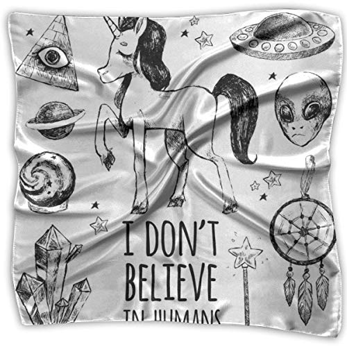 I Don't Believe in Humans Printed Square, Silk Scarf Square, Small...