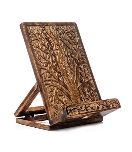 Hand-Carved Wood Cookbook Stand Compatible for iPad/Tablet Dock