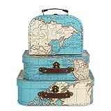 Sass & Belle–Juego 3 de maletas con diseño demapamundi