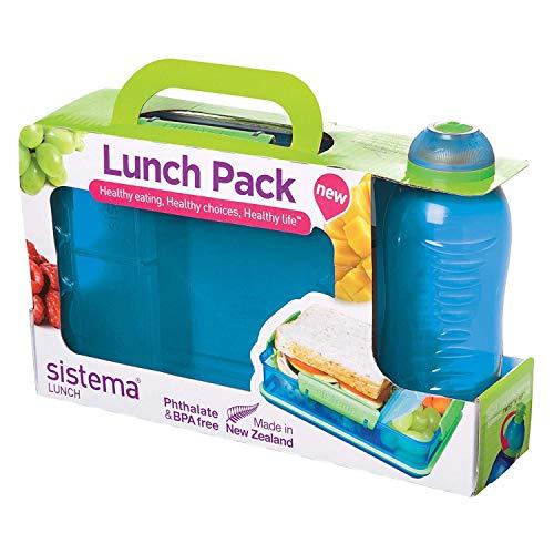 Sistema Lunch Snack Attack Duo und Twist 'N' Sip Flasche, 330 ml - farblich sortiert