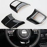 ABS Car Steering Wheel Cover Trim Sticker Decor for Jeep Patriot Compass Wrangler 2011-2017 Grand Cherokee 2011-2013 (black)