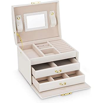 Schmuckkasten, Kosmetikkoffer mit 3 Ebenen,Schmuckschatulle mit 2 Schubladen, abschließbar, mit Spiegel, herausnehmbare Reise-Box, für Ringe, Armbänder, Ohrringe, Halsketten, Samtfutter, als Geschenk,