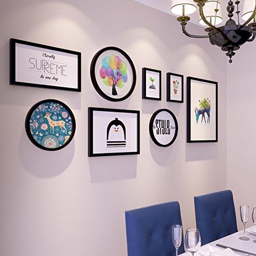 La Création de la salle à manger créatifs mural mur hängenden Combinaison Elk Art Images Plus von2 cm Épaisseur plattedassdas noire ronde boxda être satz8. Box