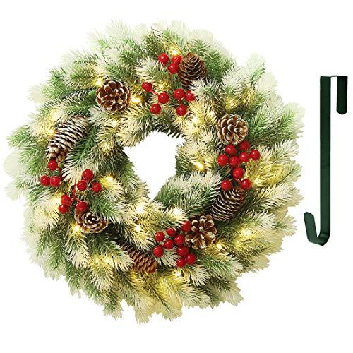 Juegoal 16 Inch Pre-Lit Christmas Wreath with Metal Hanger, Light Up Mountain Fir Pine Needle Wreath with Warm White 40 LED Lights, Indoor/Outdoor, Front Door