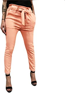 Women's High Waist Pants Trouser Slim Straight Leg Casual Harem Bandage Yoga Pants with Pockets (Orange -3, XL)