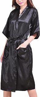GGTFA Mujeres Kimono Puro Túnicas De Color Albornoz Ropa De Dormir Vestido De Fiesta De La Boda De Raso Túnica