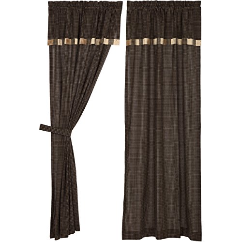 VHC Brands Kettle Grove Panel with Attached Block Border Valance Set of 2 84x40 Country Curtains, Country Black