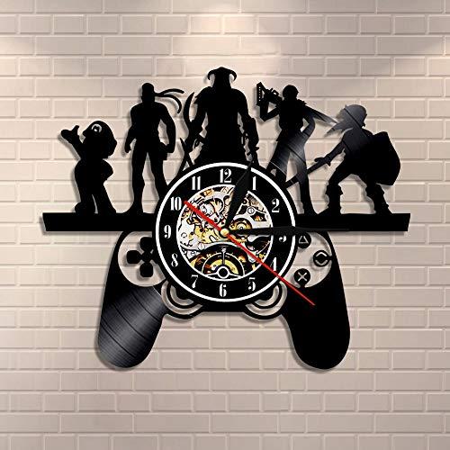 UIOLK Juego Retro Disco de Vinilo Reloj de Pared Sala de Juegos Controlador de Juegos decoración Mural Reloj de Pared Retro Popular Juego Chico Regalo