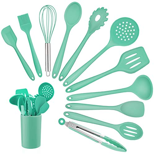 Kitchen Utensil Set, Homikit 12 Piece Cooking Utensils, Silicone Kitchen Utensils Set with Holder, Heat Resistant Kitchen Tools Include Spoons Turner Spatula Ladle Tong for Non-Stick Cookware, Green