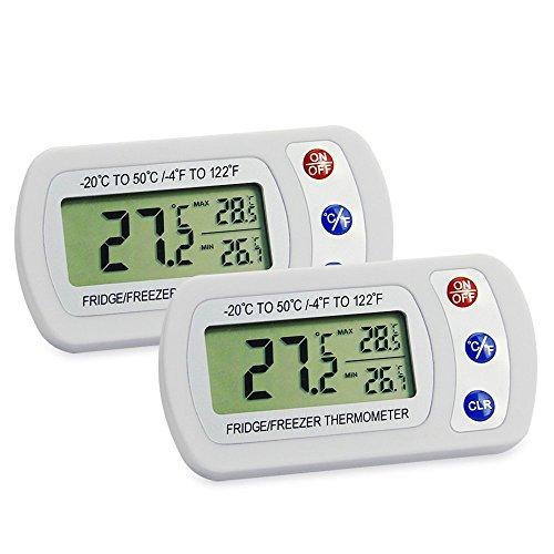 JTDEAL Termometro Frigorifico, 2pcs Termometro Nevera,Termómetro Digital Impermeable para Frigorífico y Congelador Termometro LCD Maxima y Minima -20~50℃, para Supervisar Interior y Exterior-Blanco