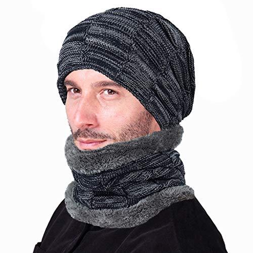 TAO Chapeau d'hiver écharpe Ensemble Skullies Chapeaux Bonnets Chauds Bonnets Chauds Chapeaux pour Hommes (Couleur : Marine)