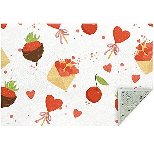 nakw88 Alfombra de suelo grande redonda para sala de estar, acolchado, 160 cm, color fresa, chocolate, corazón, cereza
