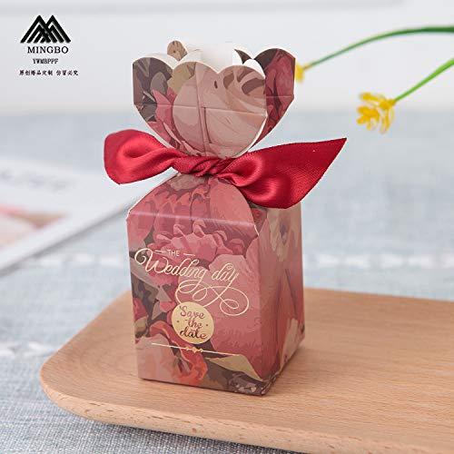 Zorpia 20 Stück DIY Hochzeit Gastgeschenke Süßigkeiten Boxen mit Band und Blume für Verlobung, Brautparty, Prinzessin Pink Retro Flowers