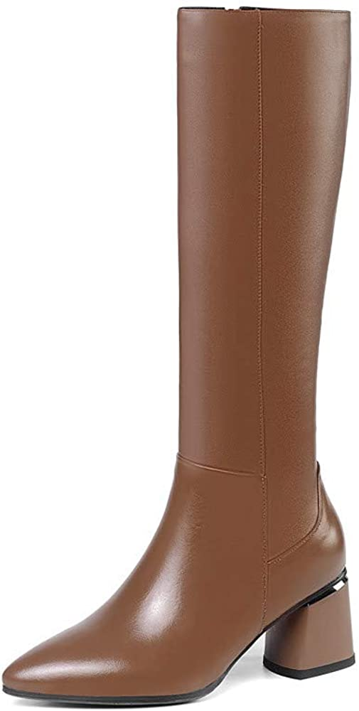 TinaCus Women's Handmade Leather Pointed Toe Mid Chunky Heel Side Zip Knee High Boots