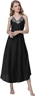 JZLPIN Women's Long Satin Dressing Gown, Sexy Nighties, Lace Nightdress, Pyjamas for Ladies M-XXL