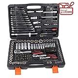JIAMING Kit de herramientas 216 piezas llave de llave de vaso herramienta de reparación de auto con caja de herramientas de transporte sólida, juegos de herramientas de reparación de automóviles