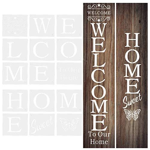 LUTER 18 Stück Willkommensschild Schablonen Zum Malen auf Holz, Wiederverwendbare Schablonen für Tür, Veranda, Wohnkultur, DIY-Projekte 17,8 x 20,3 cm