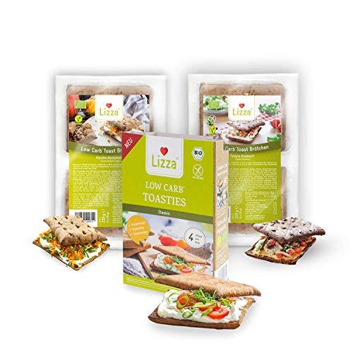 Lizza Low Carb Toast Brötchen Classic | 94% weniger Kohlenhydrate | Bio. Glutenfrei. Vegan | Protein- & Ballaststoffreich | Keto | Zuckerarm | 16 Toast Brötchen (Vorrat für 2 Wochen)
