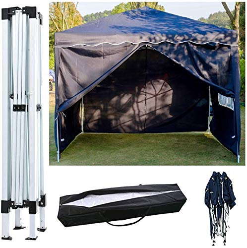 Plztou Gazebo with Sides 3m x 3m Pop Up, Folding Party Tent, Heavy Duty Marquee Tent, Outdoor Canopy Shelter, for Garden/Beach/Instant Shelter/Flea Market, Free Carry Bag, Blue