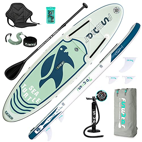 FunWater SUP Inflatable Stand Up Paddle Board Ultra-Light Inflatable Paddleboard with ISUP Accessories,Fins,Adjustable Paddle, Pump,Backpack, Leash, Waterproof Phone Bag,Kayak Seat