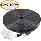Cat 7 Ethernet Cable 50 ft Shielded, Durable Flat Internet Lan Computer patch cord, faster than Cat5e/cat6, High Speed Cat7 RJ45 Solid Network Wire for Router, Modem, Xbox, PS4, Camera, Hubs - Black