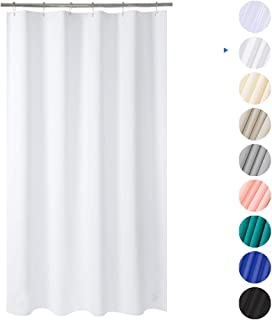 """Plastic Shower Curtain, 36""""W x 72""""H EVA 8G Shower Curtain with Heavy Duty Clear Stones and 6 Rust-Resistant Grommet Holes, Waterproof Thick Bathroom Plastic Shower Curtains without Chemical Odor-White"""