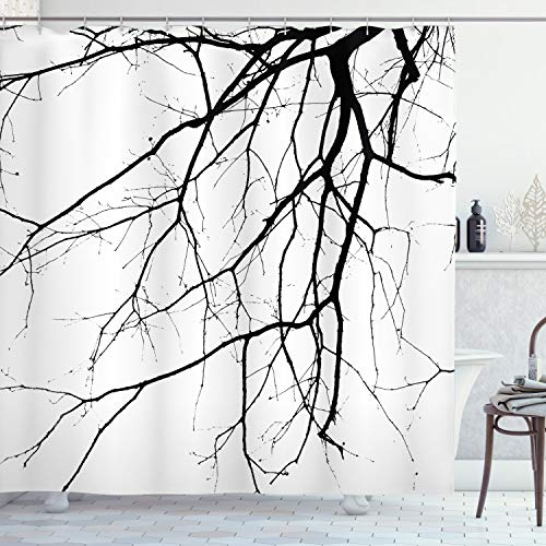 """Ambesonne Black and White Shower Curtain, Macro Leafless Winter Tree Branches Idyllic Twigs of Oak Nature Print, Cloth Fabric Bathroom Decor Set with Hooks, 84"""" Long Extra, Black and White"""