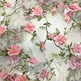HAORUN 3D Stickerei Spitze Stoff Organza Chiffon Pink Rose