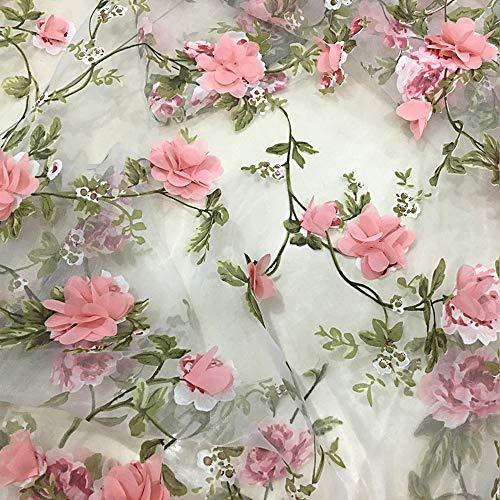 HAORUN 3D Stickerei Spitze Stoff Organza Chiffon Pink Rose Floral
