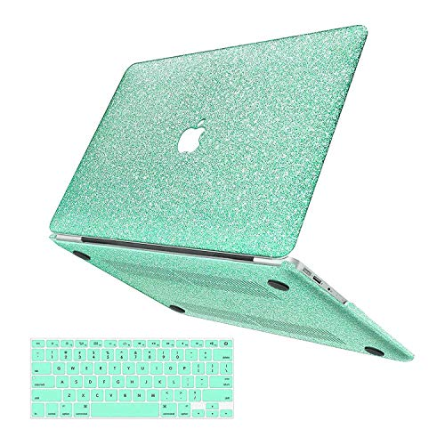 MacBook Air 13 inch Case,Anban Glitter Bling Smooth Protective Laptop Shell Slim Snap On Case with Keyboard Cover Compatible MacBook Air 13' (A1369 & A1466),Shining Mint Green