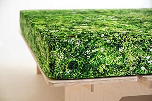 FOONKA HAYKA Almwiese, Spannbettlaken aus Jersey, 90x200 cm, Gras, Grün