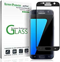 amFilm Glass Screen Protector for Galaxy S7, Tempered Glass, Dot Matrix, 3D Curved, with Black Border