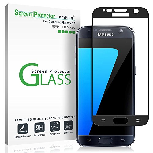 amFilm Verre Trempé Galaxy S7, Couverture Complète Protecteur D'écran pour Samsung Galaxy S7 (Noir)