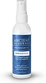 Ancient Minerals Magnesium Oil Spray Sensitive Plus – All-New Sensitive+ Formula Oil with Avena Sativa (Oat Aventhramides), Nopal Cactus, Organic Chamomile, and Allantoin (4oz)