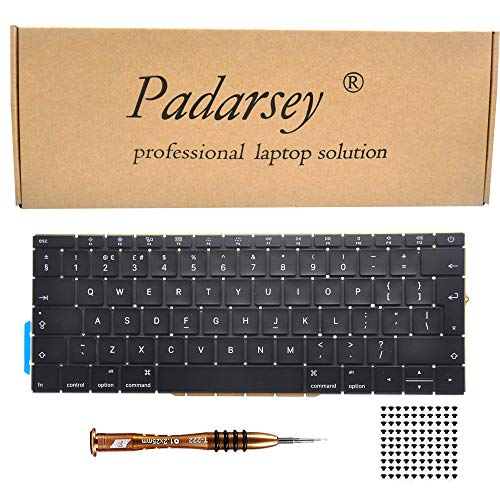 Padarsey Replacement Keyboard UK Layout Compatible for MacBook Pro 13' inch A1708 Without touchpad bar MacBookPro14,1 MacBookPro13,1 A1708 Late 2016 mid 2017 with 80 PCE Screws+Screwdriver