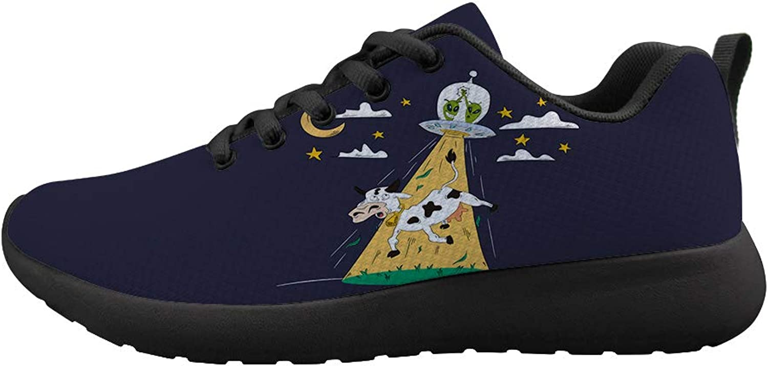 Owaheson Cushioning Sneaker Trail Running shoes Mens Womens High-Five Aliens UFO Kidnapping Cow