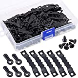 160Pcs Picture Hangers Kit, Including 80Pcs Black Sawtooth Picture Frame Hanging Hangers Double Hole and 80Pcs Photo Frame Turn Button with Screws Perfect for Home Decoration - Black