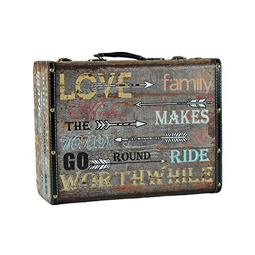 CaoDquan koffer Retro ouderwetse houten schatkist Treasure Opslag Trunk Opslag Verjaardagscadeau Kerstmis Speelgoed Dekbedovertrek Vintage Kleine koffer