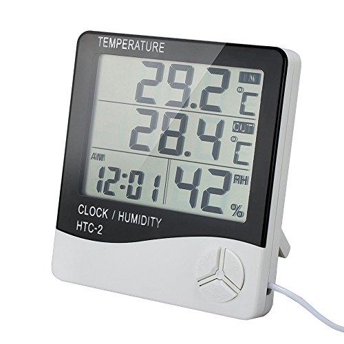 VADIV Thermometer Hygrometer, Digitales Thermo Hygrometer Innen-/Außentemperatur Temperatur,LCD Display,Alarm Wecker mit Halter 3 Meter Kabel