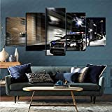 mmkow Mural 5-Piece Set Vehicle Police Living Room Bedroom Home Decoration Decoration 80x150cm (Frameless)
