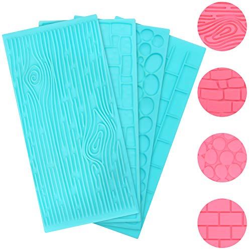 Kurtzy Set Stampi in Silicone per Dolci in Plastica per Goffratura (4pz)- Stampi per Dolci Stile Mattoni, Legno e Ciottoli - Stampi per Dolci in Silicone in Rilievo per Decorazioni 3D di Dolci e Torte