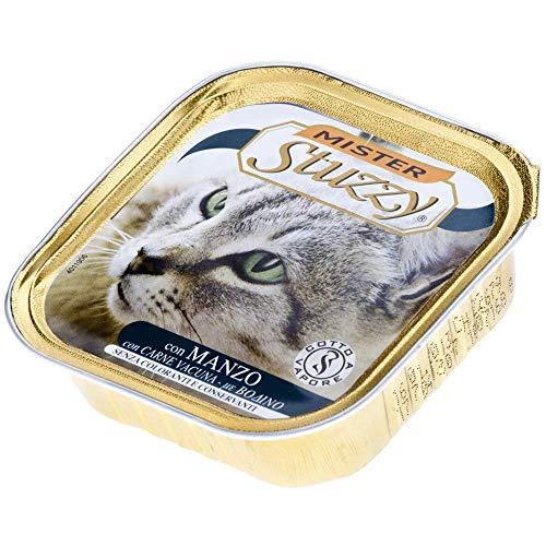 Mister Stuzzy Comida para Gatos de Vacuno mojada en paté, 32 Cuencos de Aluminio de 100 g, 3,2 kg 🔥
