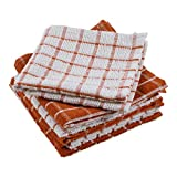 DII Terry Combo Windowpane Dishcloths Absorbant, Multi-Use, Fast Drying and Machine Washable, 12x12', Spice 6 Piece