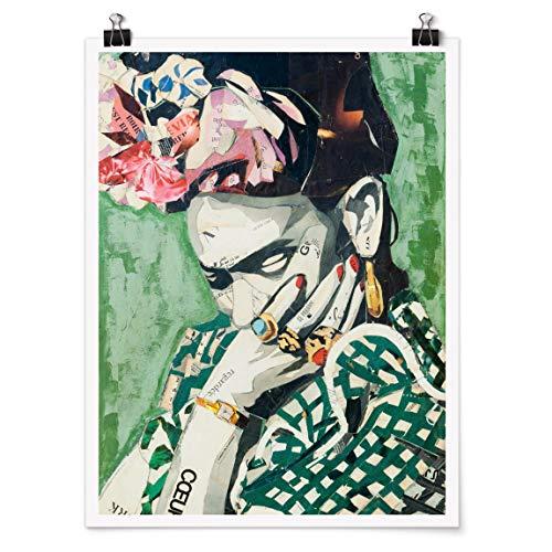 Bilderwelten Poster Wanddeko Kunstdruck Frida Kahlo - Collage No.3 Glänzend 80 x 60cm
