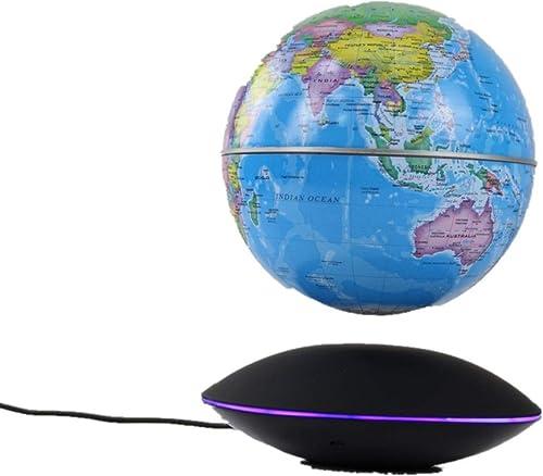 Globus Magnetische Kugel schwebende Weltkarte-Kugel mit LED-Licht-Weltantike dekorativem Desktop-Office-Klassenzimmer Für die Schule Kinder (Farbe   Hellbraun)