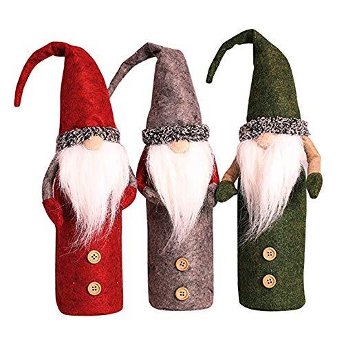 CNMF 3 stuks Kerstmis wijnflessen hoezen knoop mantel fles afdekking wijnfles jurk pullover fles afdekking voor kerst party decoratie